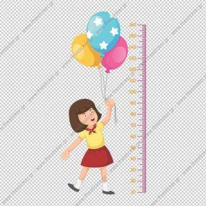 """Παιδικός υψομετρητής """"Κοριτσάκι & Μπαλόνια"""""""